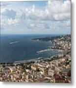 Naples Italy Aerial Perspective - Coastal Beauty Of Mergellina, Posillipo And Marechiaro Metal Print