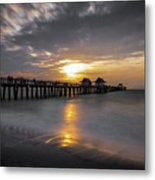Naples Pier At Sunset - Florida, United States - Travel Photography Metal Print