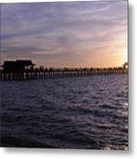 Naples Pier Sundown Metal Print