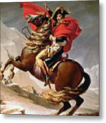 Napoleon Crossing The Alps Metal Print by Jacques Louis David