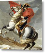 Napoleon Crossing The Alps, Jacques Louis David, From The Original Version Of This Painting  Metal Print
