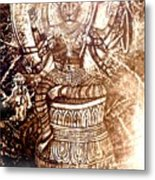 Illuminated Narasimha Dev In Sepia Metal Print