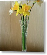 Narcissus In Glass Vase Metal Print