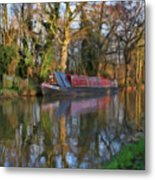 Narrow Boat On Wey Navigation - P4a16008 Metal Print