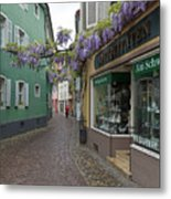 Narrow Street In Freiburg Metal Print