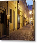 Narrow Street In Old Town Of Wroclaw In Poland Metal Print