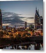 Nashville Broadway Street Shelby Street Bridge Downtown Cityscape Art Metal Print