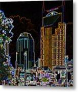 Nashville In Neon Metal Print