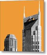 Nashville Skyline At And T Batman Building - Orange Metal Print