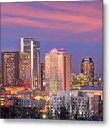 Nashville Skyline At Dusk 2018 Panorama Color Metal Print