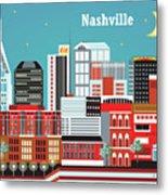 Nashville Tennessee Horizontal Skyline Metal Print