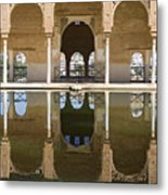 Nasrid Palace Arches Reflection At The Alhambra Granada Metal Print