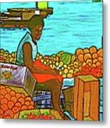 Nassau Fruit Seller At Waterside Metal Print