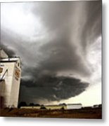 Nasty Looking Cumulonimbus Cloud Behind Grain Elevator Metal Print