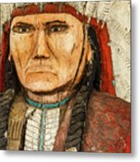 Native American Chief With Pipe Metal Print