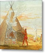 Native American Indian Sweat Lodge Metal Print by Science Source