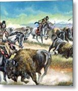 Native American Indians Killing American Bison Metal Print