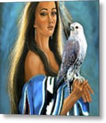 Native American Maiden With Falcon Metal Print