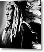 Native American Sioux Chief Sitting Metal Print by Everett