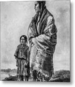 Native American Squaw And Child Metal Print