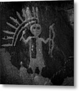 Native American Warrior Petroglyph On Sandstone Metal Print
