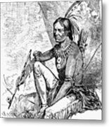 Native American With Pipe Metal Print