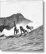 Native Hawaiians Surfing Metal Print