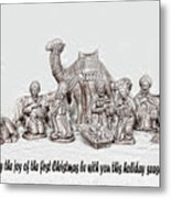 Nativity Scenne Sketch Metal Print
