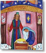 Nativity With Angels Metal Print