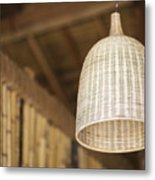 Natural Bamboo Interior Design Lampshade Detail Metal Print