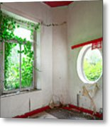 Nature Takes Over Oval Window -urbex Metal Print