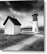Nauset Light - Black And White Lighthouse Metal Print