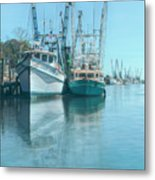 Nautical Aquas At The Harbor Metal Print