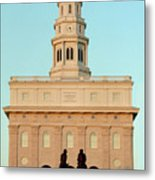 Nauvoo Lds Temple Sunset With Hyrum And Joseph Smith Bronze Statue Metal Print