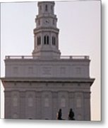 Nauvoo Temple Dawn  With Bronze Sculpture Of Hyrum And Joseph Smith Metal Print