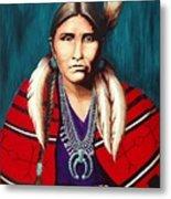 Navajo Woman In Red Metal Print