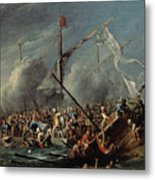 Naval Battle Between Spanish And Turks Metal Print