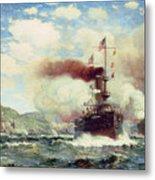 Naval Battle Explosion Metal Print by James Gale Tyler