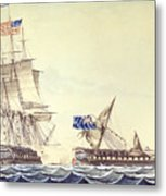 Naval Engagement Between The Uss Frigate Constitution And Hms Frigate Java Metal Print