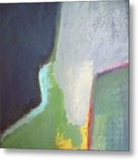 Navy Gray Green Abstract Metal Print