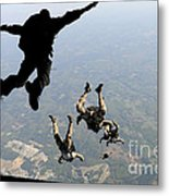 Navy Seals Jump From The Ramp Of A C-17 Metal Print