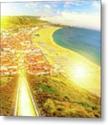 Nazare Skyline Sunset Metal Print
