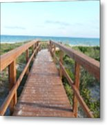 Nc Beach Boardwalk Metal Print