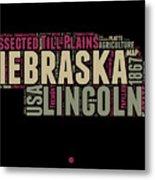 Nebraska Word Cloud 1 Metal Print