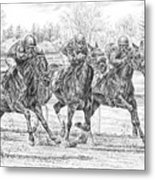 Neck And Neck - Horse Racing Art Print Metal Print
