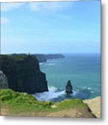 Needle Rock Formation With Blue Skies On The Cliff's Of Moher Metal Print