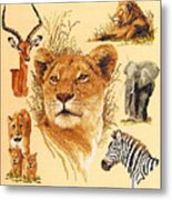 Needlework - African Animals Metal Print