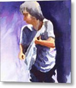 Neil Young With Gretsch White Falcon Metal Print