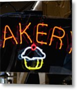 Neon Bakery Sign Metal Print