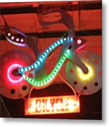 Neon Bicycle Metal Print